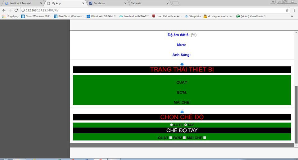 Giao diện web điều khiển từ xa nhà kính