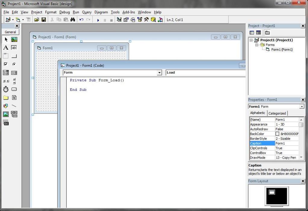 Giao diện phần mềm Visual Basic 6.0 trộn bộ