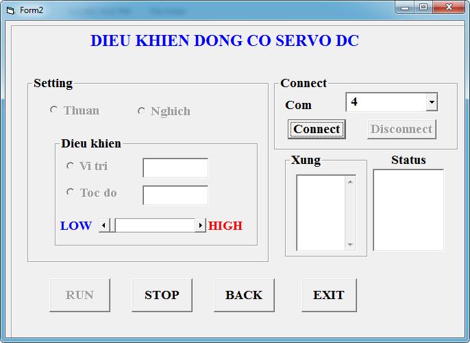 Giao diện Phần Visual Basic 6.0 điều khiển động cơ servo