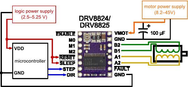 Sơ đồ nói dây DRV8825/DRV8824 với động cơ bước