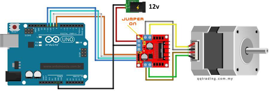 Điều khiển nữa bước động cơ bước bằng L298 với thư viện Haflstepper