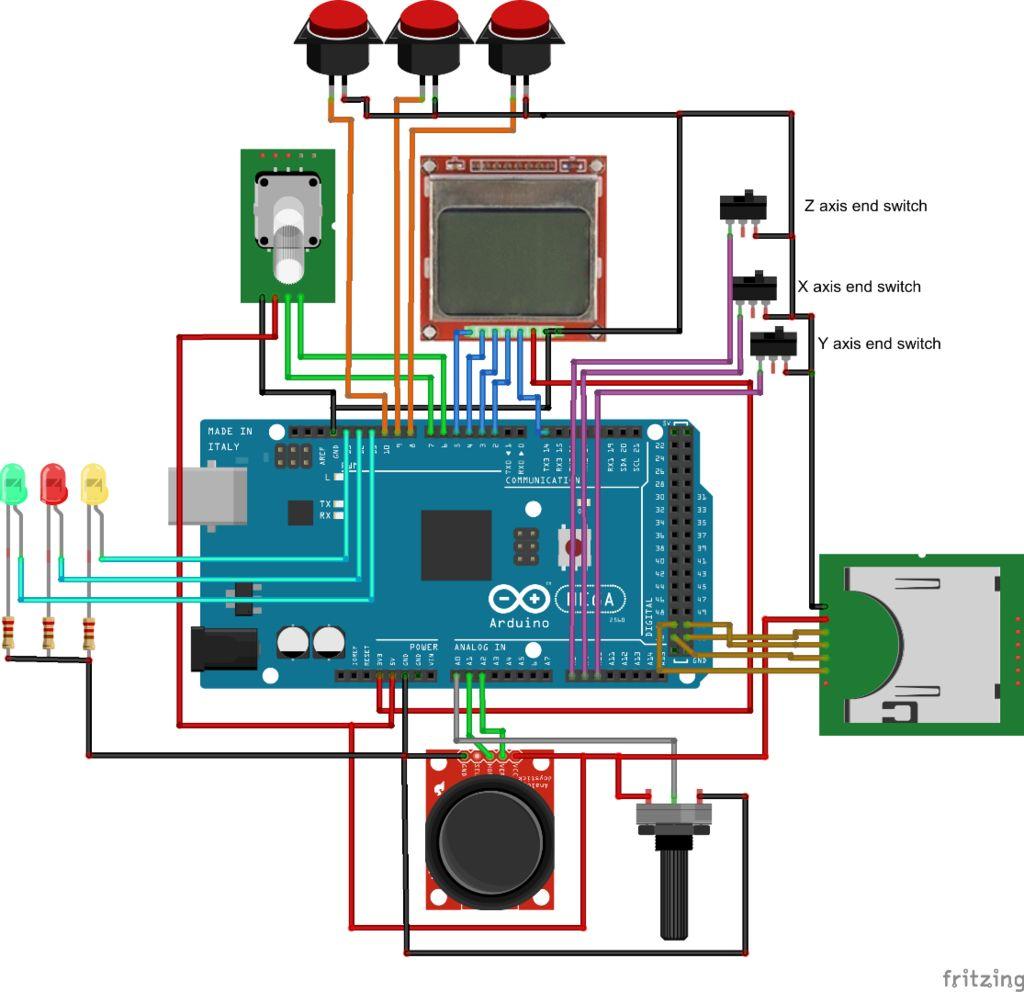 Sở đồ kết nối máy Arduio với các thiết bị cho máy CNC Mini