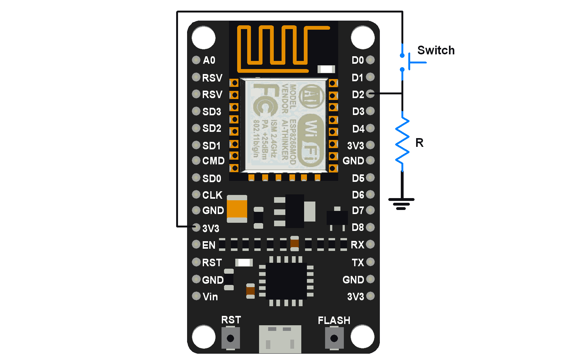 NodeMCU GPIO ngắt với Arduino IDE