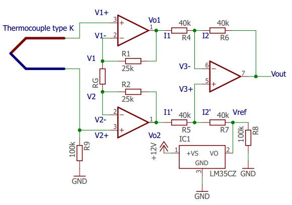 Arduino với thermocouple loại K và mạch khuyến đại INA 128. Mạch bù nhiệt độ