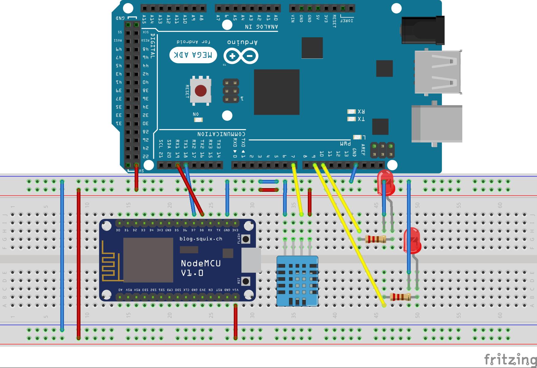 Sơ đồ mạch kết nối Arduino với Kit NodeMCU