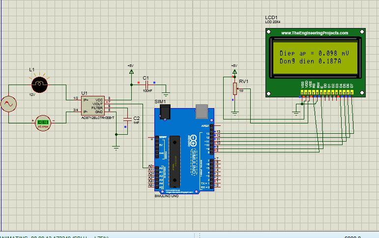 Đo dòng điện AC với ACS712 5A mô phỏng Proteus