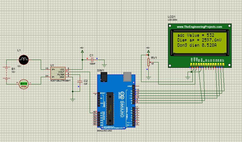 Đo dòng điện với cảm biến dòng ACS712 - Lập trình Arduino