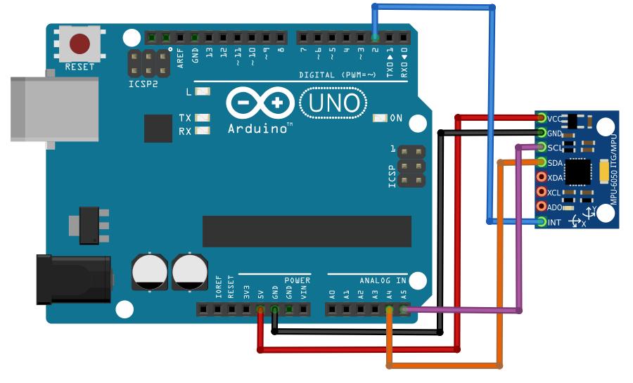 Sơ đồ nối dây MPU6050 với Arduino Uno