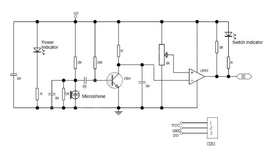 Sơ đồ nguyên lý module cảm biến âm thanh