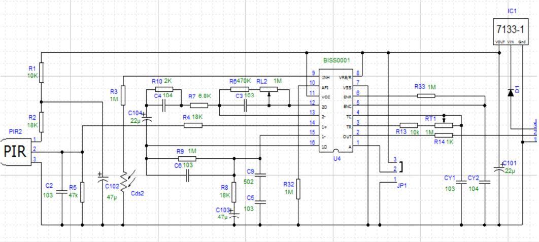 Sơ đồ nguyên lí module cảm biến chuyển động PIR
