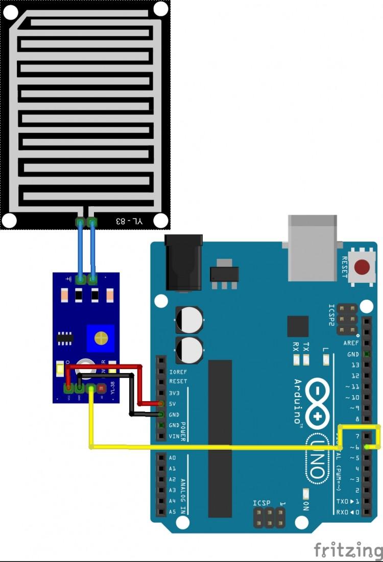 đọc cảm biến mưa với Arduino