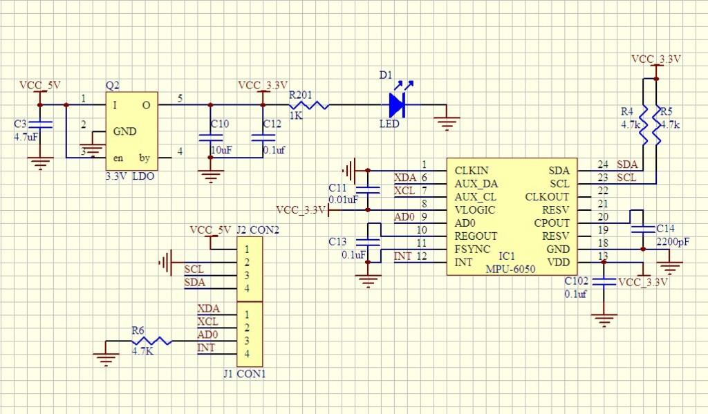 Sơ đồ mạch nguyên lí cảm biến MPU6050