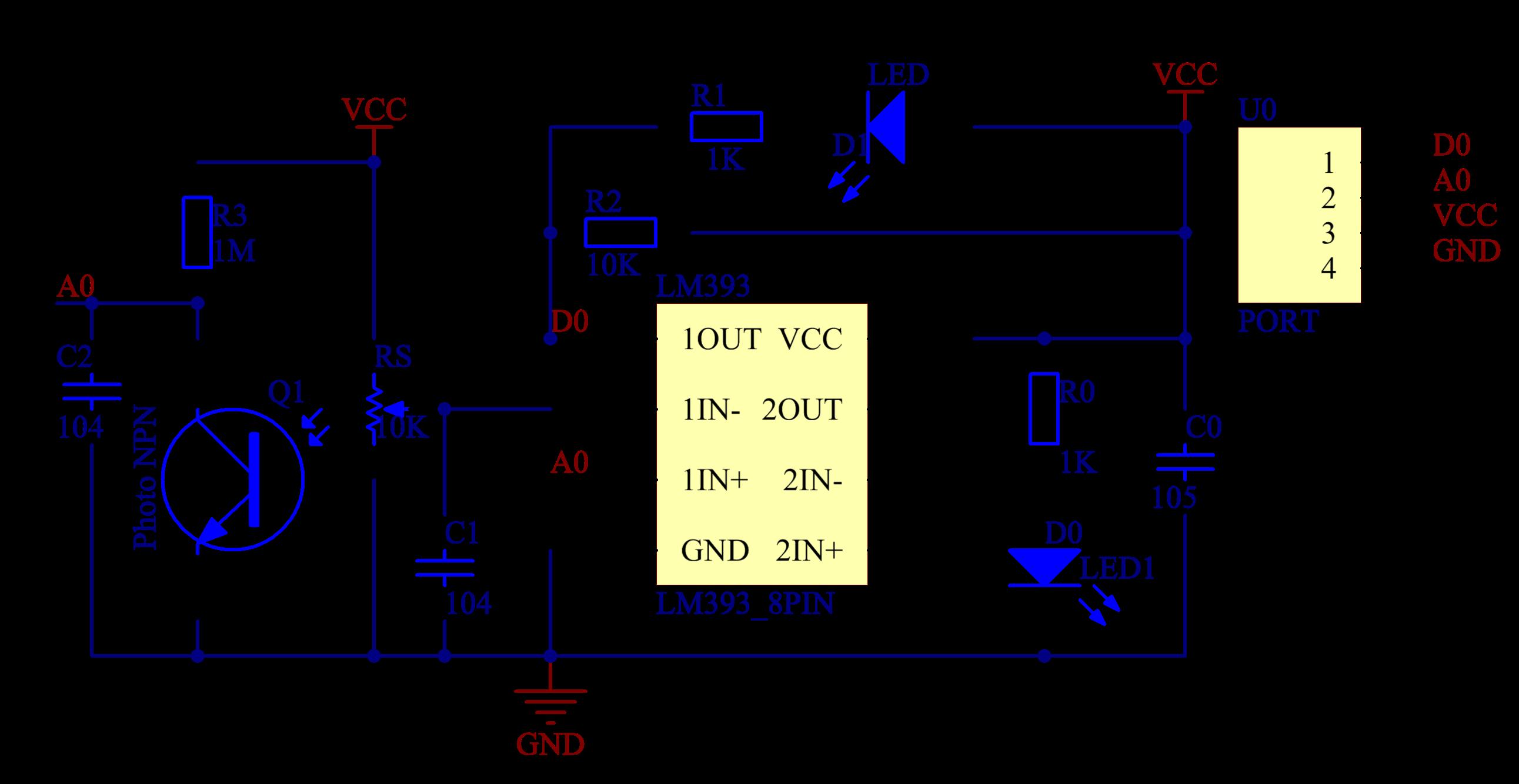 Sơ đồ mạch nguyên lí module cảm biến phát hiện lửa