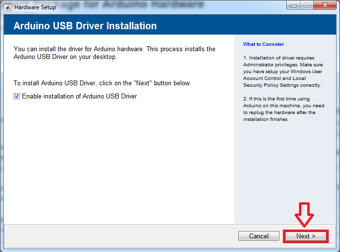 installation of Arduino USB Driver