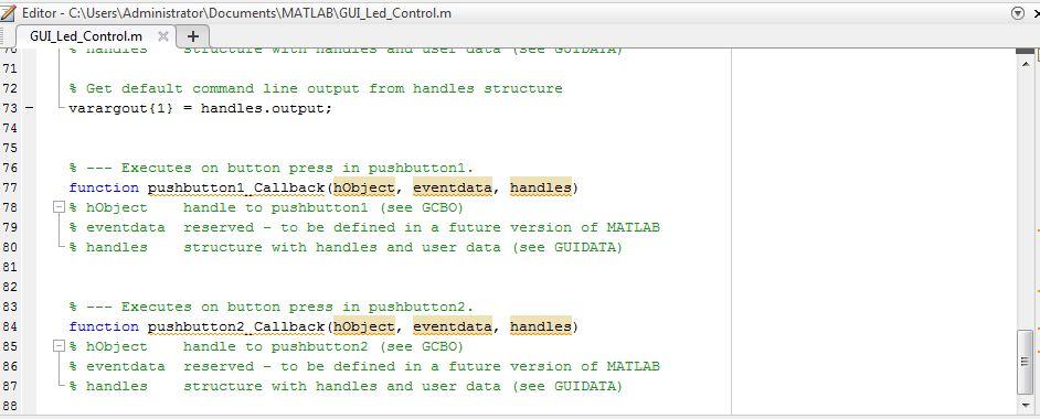 Code Matlab GUI và Arduino điều khiển LED