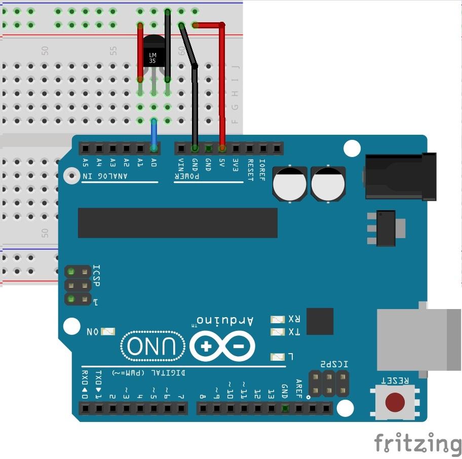 Sơ đồ kết nối LM35 với Arduino