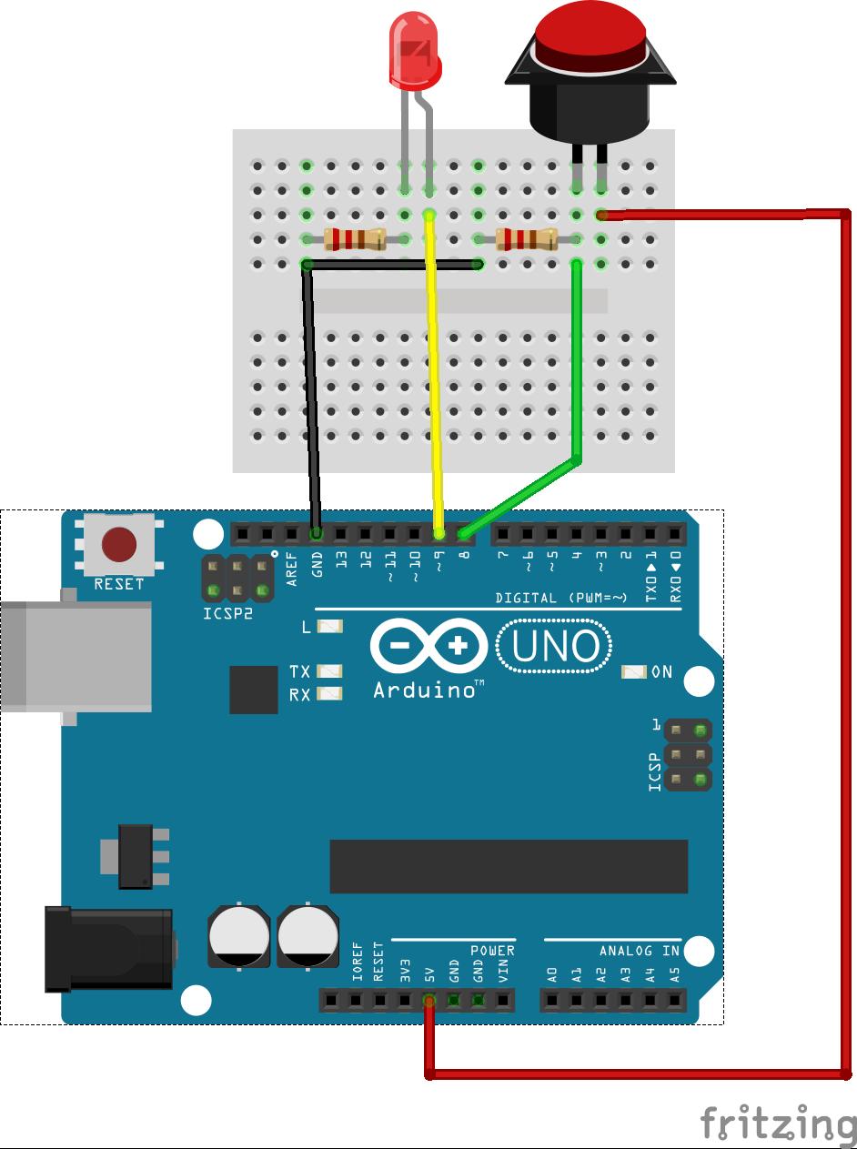 Sơ đồ kết nối cho chương trình demo: LED và Nút nhấn vẽ trên Frizting