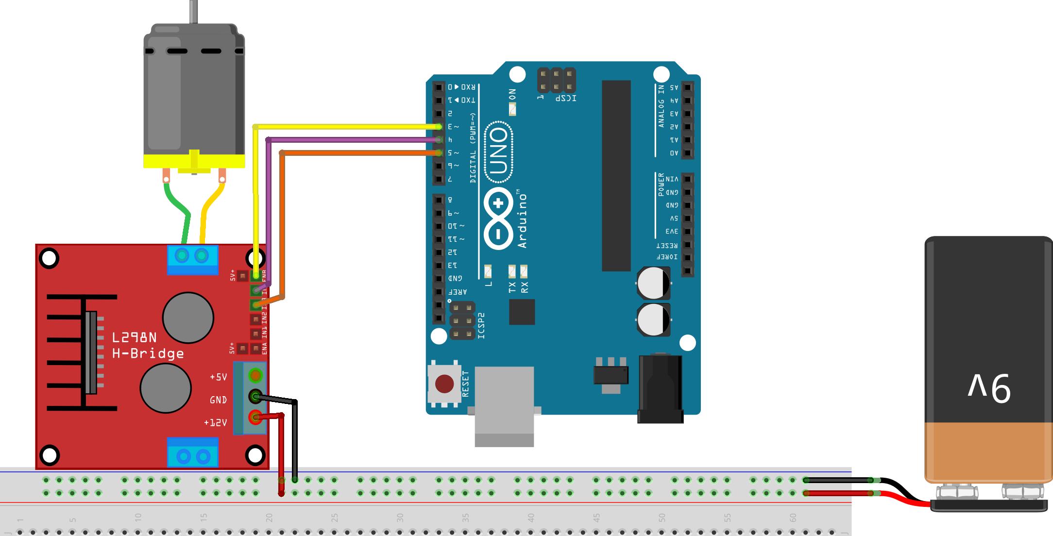 Sơ đồ kết nối điều khiển tốc độ động cơ bằng L298 với Arduino trên Matlab