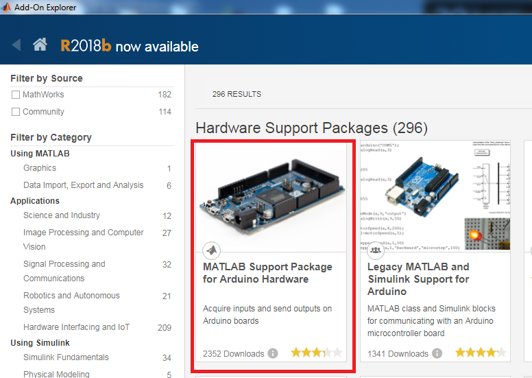 Add-On Explore ---> MATLAB Support Package for Arduino Hardware