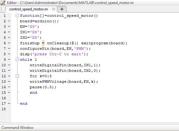Code chương trình điều khiển tốc độ động cơ bằng Matlab