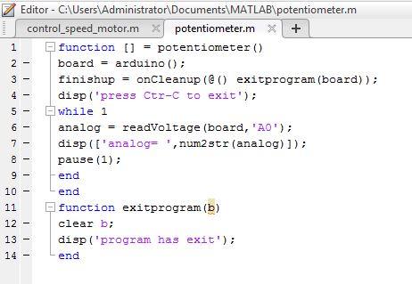Code chương trình matlab đọc giá trị biến trở với Arduino Uno