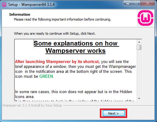 Hướng dẫn install WampServer mới nhất bước 10: Nhấn chọn Next