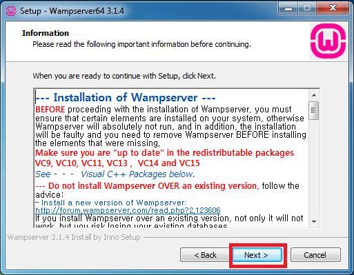 Hướng dẫn cài đặt WampServer bước 4: Nhấn chọn Next