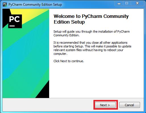 Hướng dẫn cài đặt PyCharm Community 2018.3 bước 1: Nhấn chọn Next
