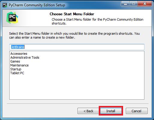 Hướng dẫn cài đặt PyCharm Community 2018.3 bước 4: Nhấn chọn Install