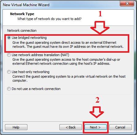 Chọn các chế độ thiết lập kết nối mạng cho máy ảo.