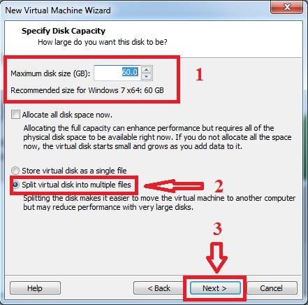Thiết lập dung lượng ổ cứng. Chọn chế độSplit virtual disk into multiple files