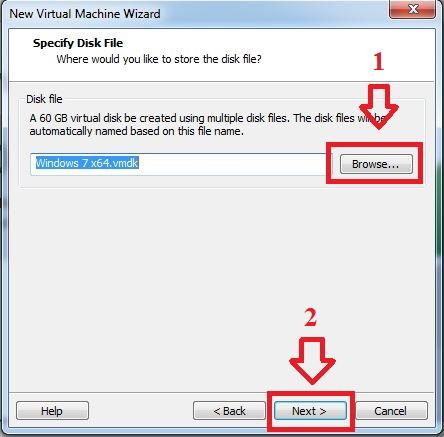 Lựa chọn nơi lưu trữ ổ cứng ảo --> Next.