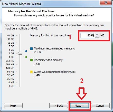 Chọn dung lượng RAM cho máy ảo. Với các phiên bản Windows 32bit, dung lượng RAM thấp nhất là 2GB, 64bit là 4GB. Rồi nhấn Next.