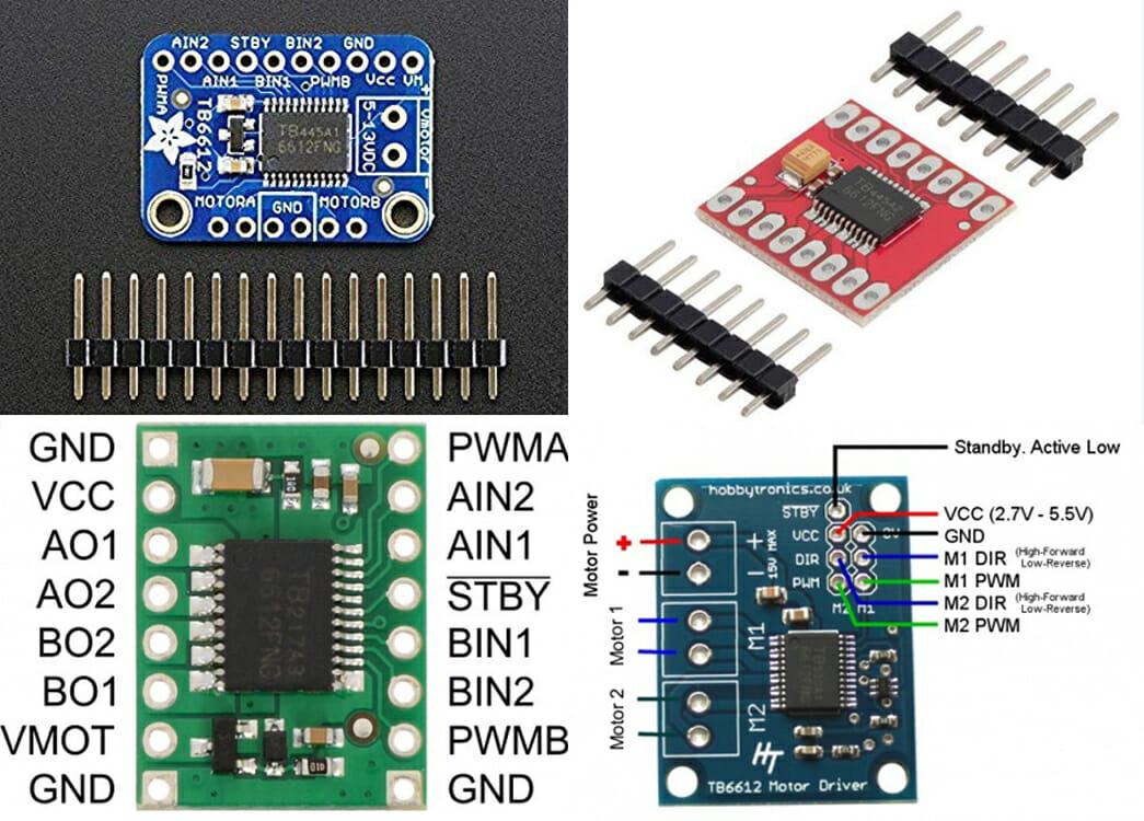 Một số mạch điều khiển động cơ DC mini và động cơ bước dùng TB6612FNG trên thị trường