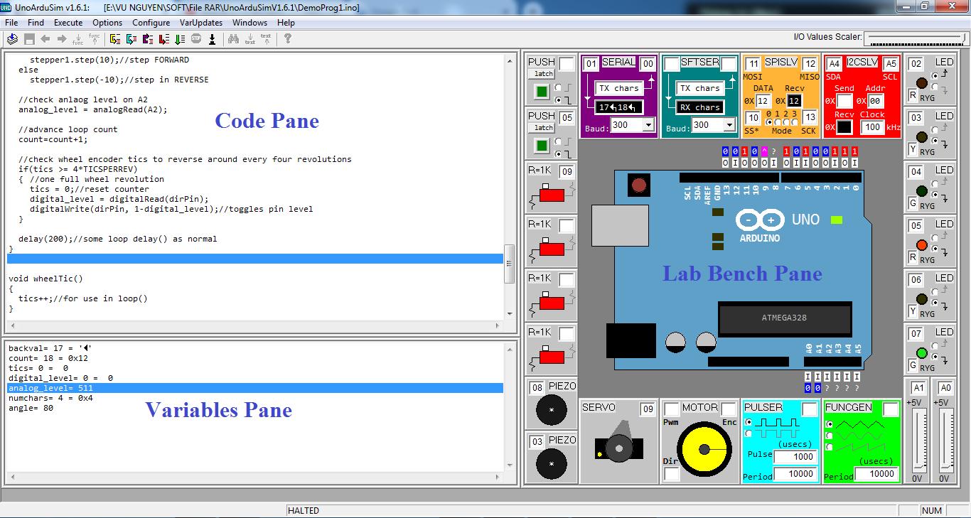 Giao diện phần mềm học Arduino: UnoArduSim
