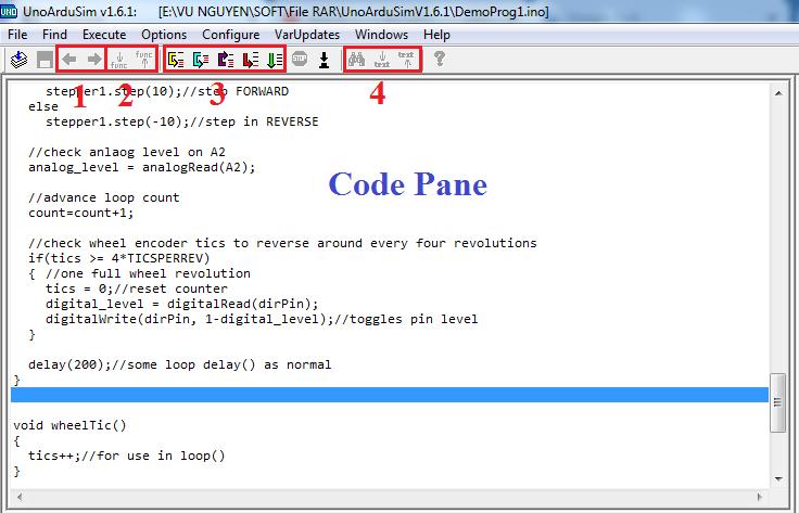 Phần mềm học Arduino: Giao diện cửa sổ Code Pane