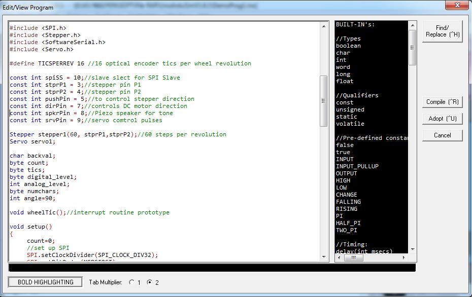 Phần mềm học Arduino: Giao diện cửa sổ Edit/View