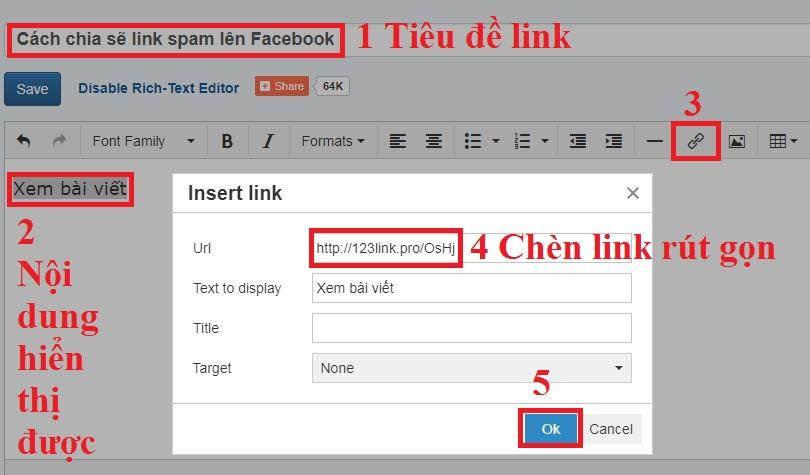 Cách chia sẽ link bị spam lên Facebook bước 2