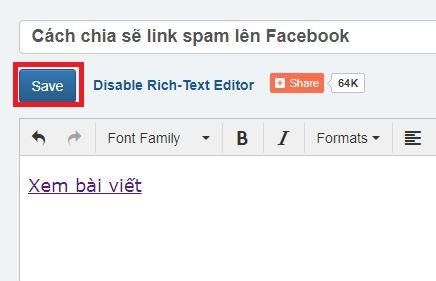 Cách chia sẽ link bị spam lên Facebook bước 3: Save