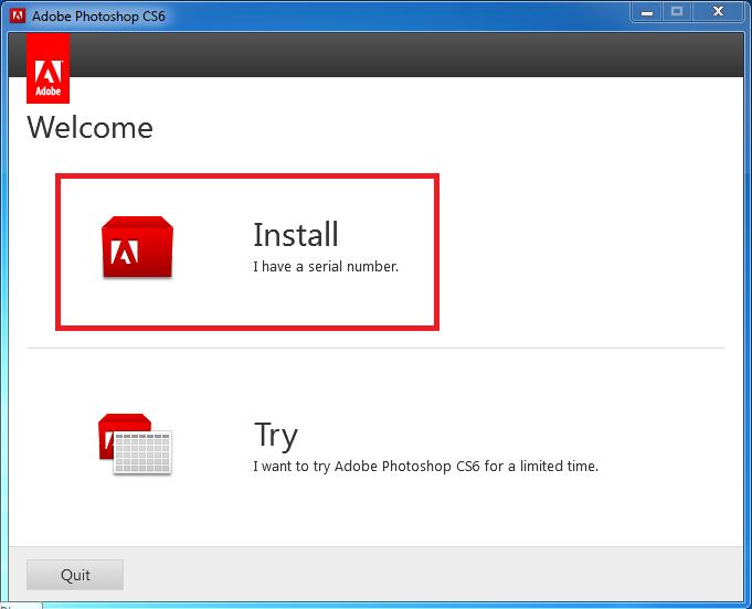 Hướng dẫn cài đặt Adobe Photoshop CS6 bước 1: Chọn Install