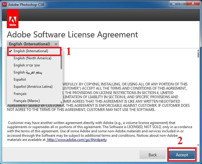 Hướng dẫn cài đặt Adobe Photoshop CS6 bước 2: Chọn ngôn ngữ --> Accept