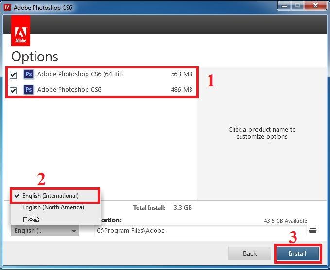Hướng dẫn cài đặt Adobe Photoshop CS6 bước 5: Chọn bản cài đặt --> chọn ngôn ngữ --> Install