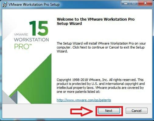 Cài đặt VMware Workstation Pro 15.0.1 bước 1: Next
