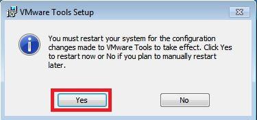 Nhấn chọn Yes để khởi động lại máy tính ảo