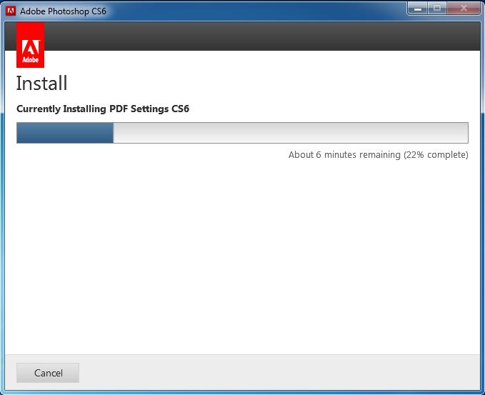 Quá trình cài đặt Photoshop CS6 được tiến hành