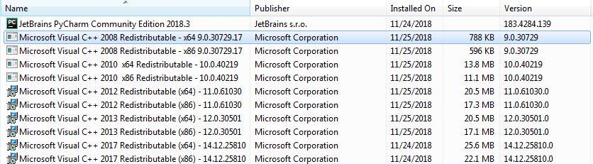 Cài các bản Visual Studio C++ 2008, 2010, 2012, 2013, 2015, 2017.