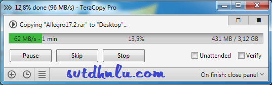 Copy file voi TeraCopy Pro