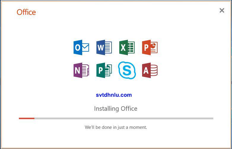 Hướng dẫn cài đặt Office Pro Plus 2019 bước 2: quá trình cài đặt diễn ra tự động