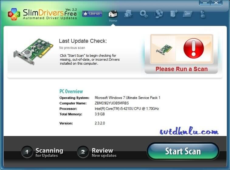 Download SlimDriver - Tu dong cap nhat Driver cho may tinh sieu nhe gon
