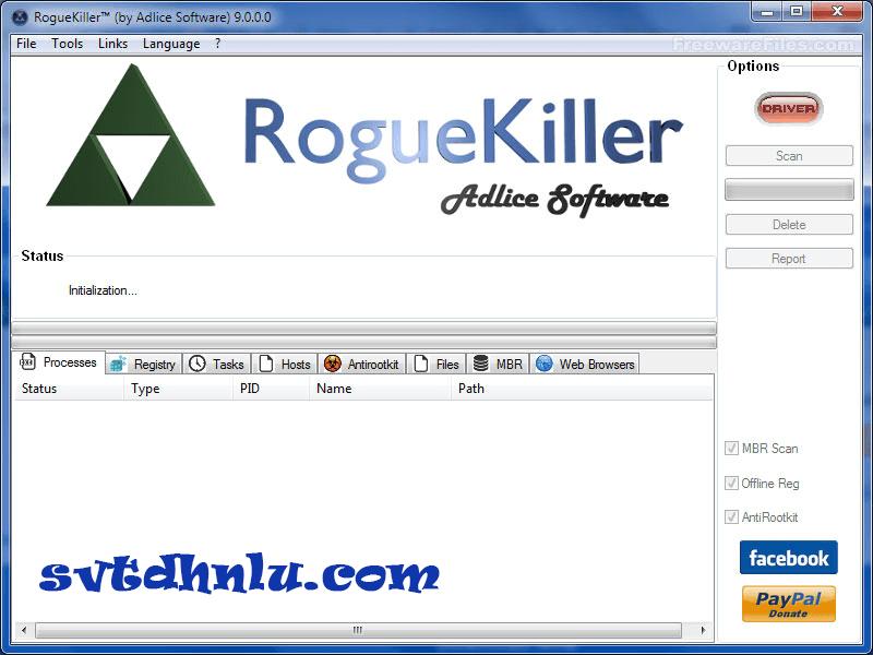 Download Portable RogueKiller - Tìm diệt virus, phần mềm độc hại